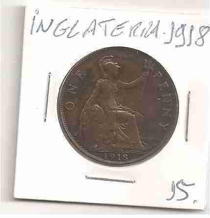 ml-3122 moeda inglaterra (one penny) 30mm 1918