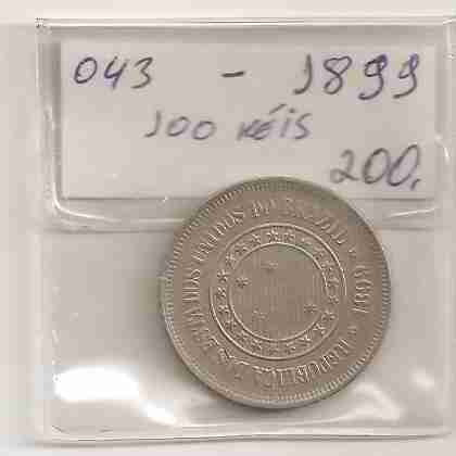 ml-3167 moeda brasil (100 réis) 1899 v-043