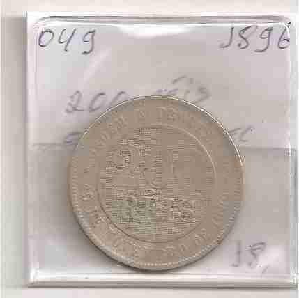 ml-3267 moeda brasil (200 réis) cupro-níquel 1896 v-049
