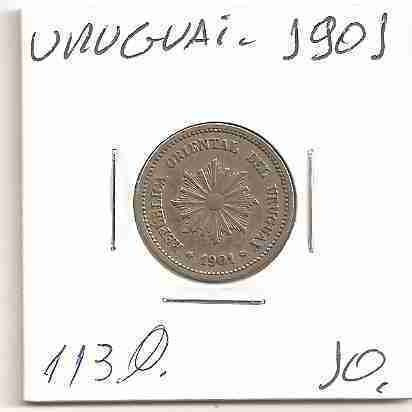 ml-3379 moeda uruguai (2 centésimos) 20mm 1901