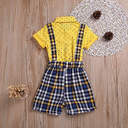Suspenders Pants Plaid Short Overall Clothes Set MLCHNCO Baby Boy Gentleman Outfits Short Sleeve T-Shirt