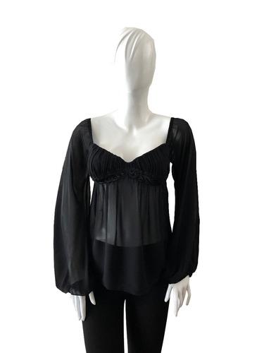 mng blusa talla small color negro