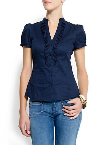 mng blusas manga corta talla 4 colores azul y blanco