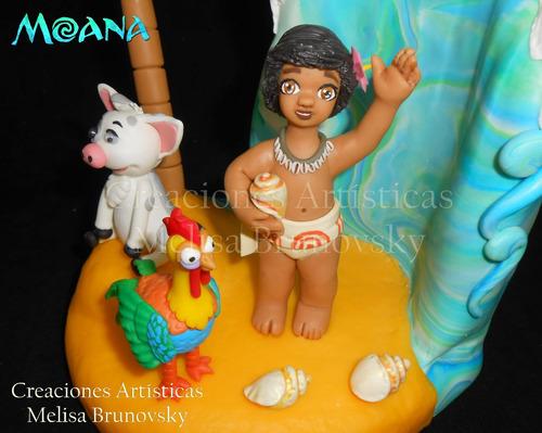 moana bebé +pua +gallo , adorno de torta, disney princesas