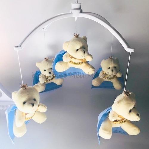 móbile bebê berço musical ursinho urso príncipe ou ursa
