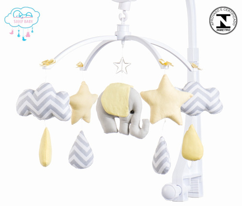 móbile berço bebê musical e giratório elefantinho amarelo