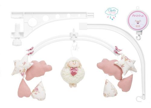 móbile berço bebê musical e giratório ovelinha rosê