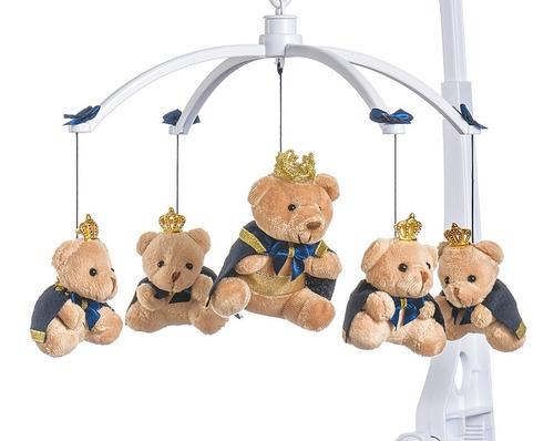 mobile berço bebê musical e giratório príncipe azul menino