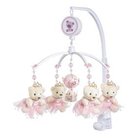 Móbile Berço Bebê Musical E Giratório Ursa Rosa Menina