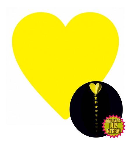 mobile decorativo neon coração amarelo