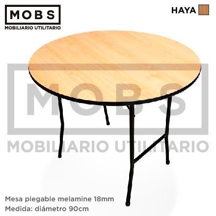 Mobs mesa plegable circular melamine 90cm y otras for Mesa plegable medidas