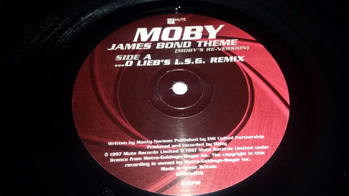 moby james bond theme (moby's re-version) vinilo promo