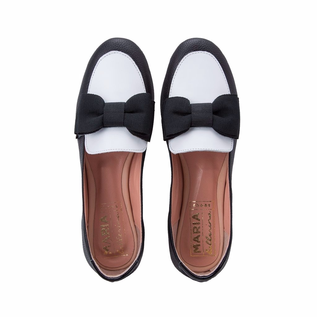 envío gratis bde83 43f0c Mocasines Chatitas Negro Y Blanco En Cuero De Mujer Zapatos