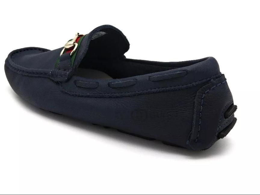 ab274585c9 mocassim azul marinho couro gucci masculino gutti sapato. Carregando zoom.