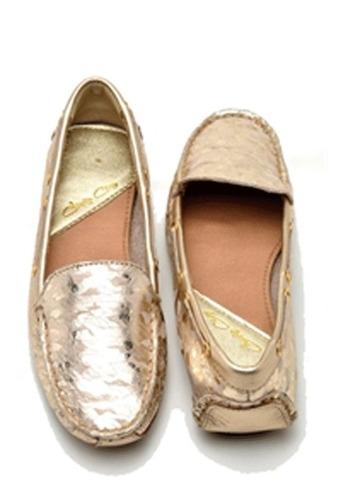 mocassim feminino em couro 100% legítimo cor ouro
