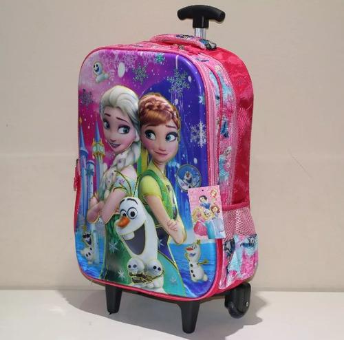 mochila 3d escolar frozen carrinho ana e elza
