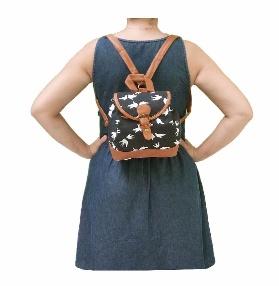 Bolsa Feminina De Costas : Bolsa mochila feminina lona al?a para costas letras azul