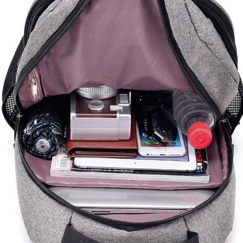 mochila anti furto notebook saida cabo aux usb fone ouvido