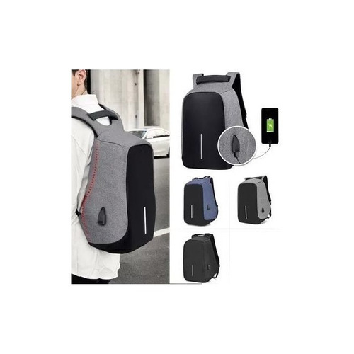 mochila anti furto roubo para notebook azul usb impermeavel