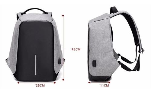 mochila anti furto usb notebook cadeado zíper impermeável