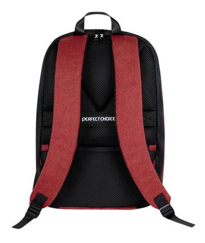 mochila anti-robo perfect choice 15.6 rojo/azul
