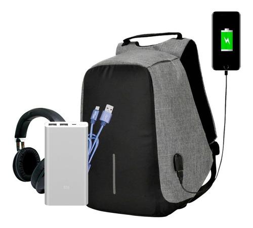 mochila antirobo + cable +xiaomi power bank 10mil + audifono
