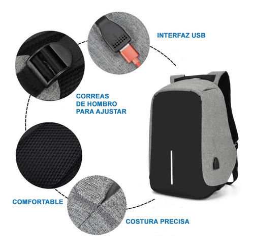 mochila antirrobo impermeable carga usb + power bank