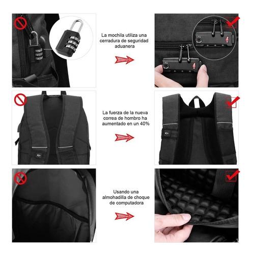 mochila antirrobo, mochila daypack de 30l con puerto de carg