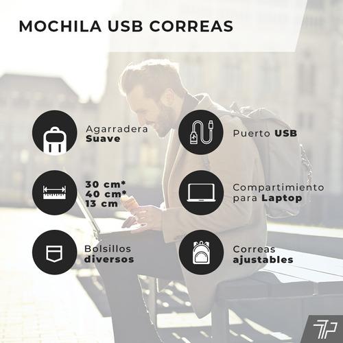 mochila antirrobo mujer hombre usb notebook tablet celular