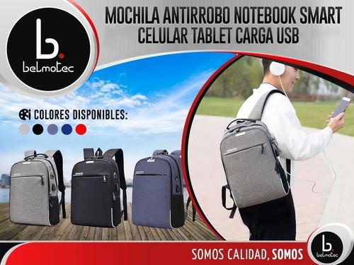 mochila antirrobo porta notebook hombre mujer smart celular tablet carga usb mochilas