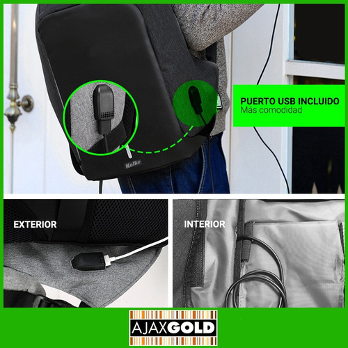 mochila antirrobo porta notebook seguridad usb urbana color