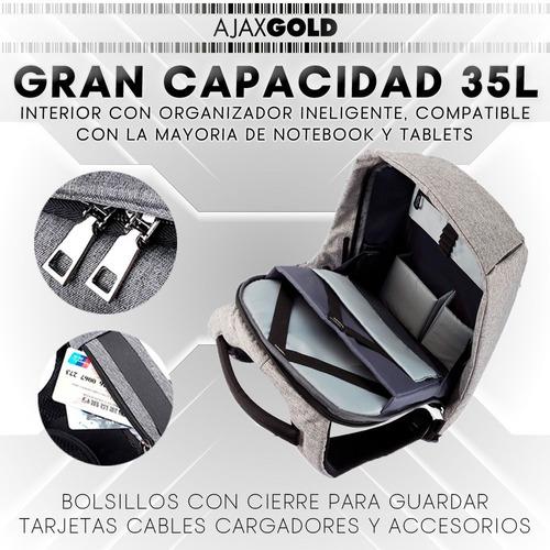 mochila antirrobo porta notebook urbana usb seguridad