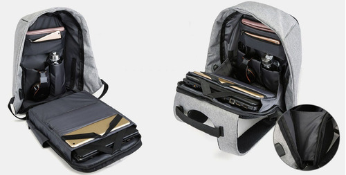 mochila antirrobo viaje bolsas impermeable usb laptop sg/e