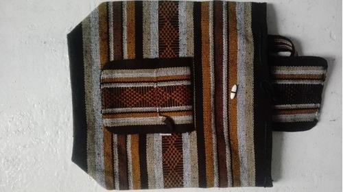 mochila artesanal café en sarape mexicano 40 x 38cm