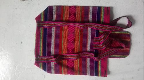 mochila artesanal  rosa en sarape mexicano 40 x 38cm