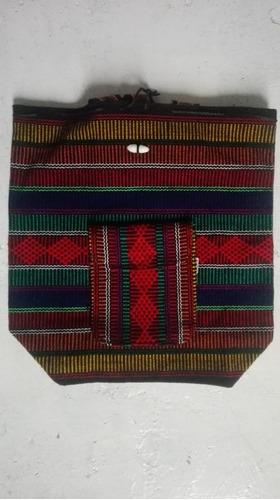 mochila artesanal sandia en sarape mexicano 40 x 38cm