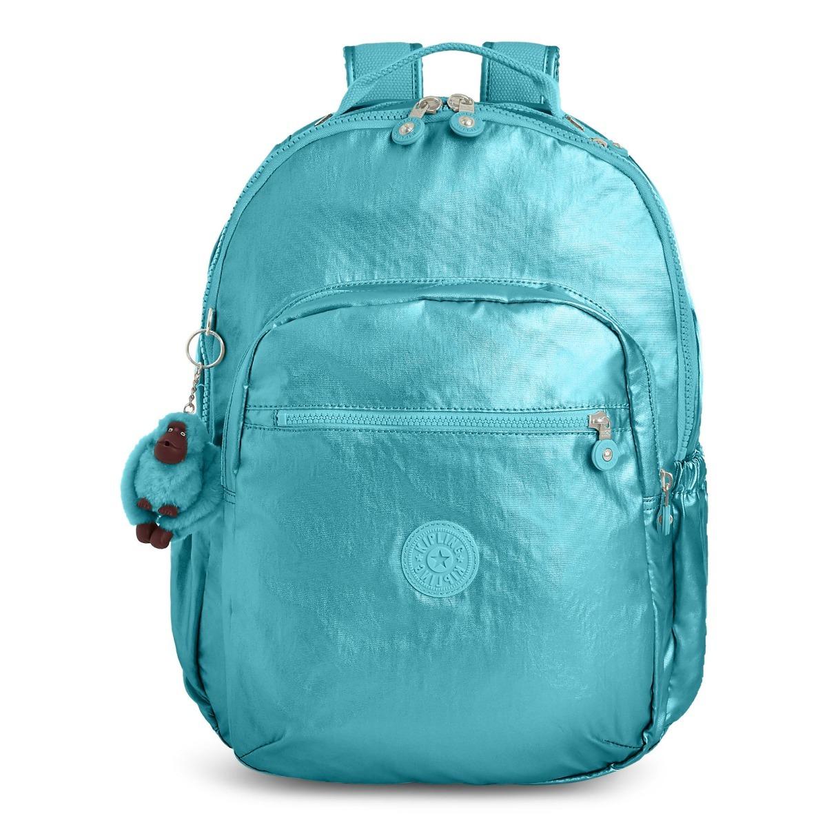 204951fe8 mochila azul metálico kipling original modelo seoul go. Carregando zoom.