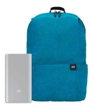 mochila azul xiaomi + xiaomi mi power bank 2s 10000mah