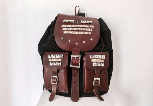 mochila backpack cuero gabardina diseño grande