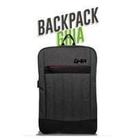 mochila backpack ghia 15.6 color gris/cierre rojo 3 comparti