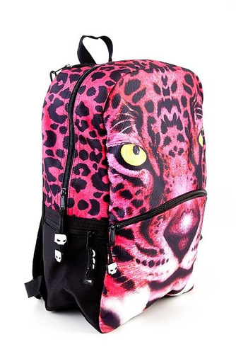 mochila backpack pink leopard compartimento tablet mojo neon