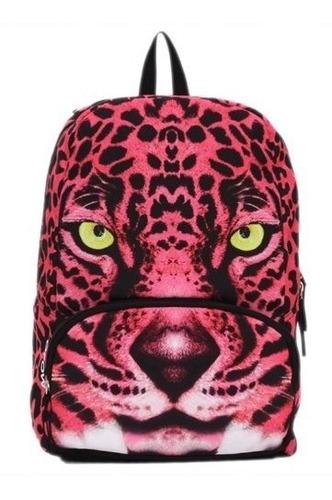 mochila backpack pink leopard compartimento tablet mojo neon