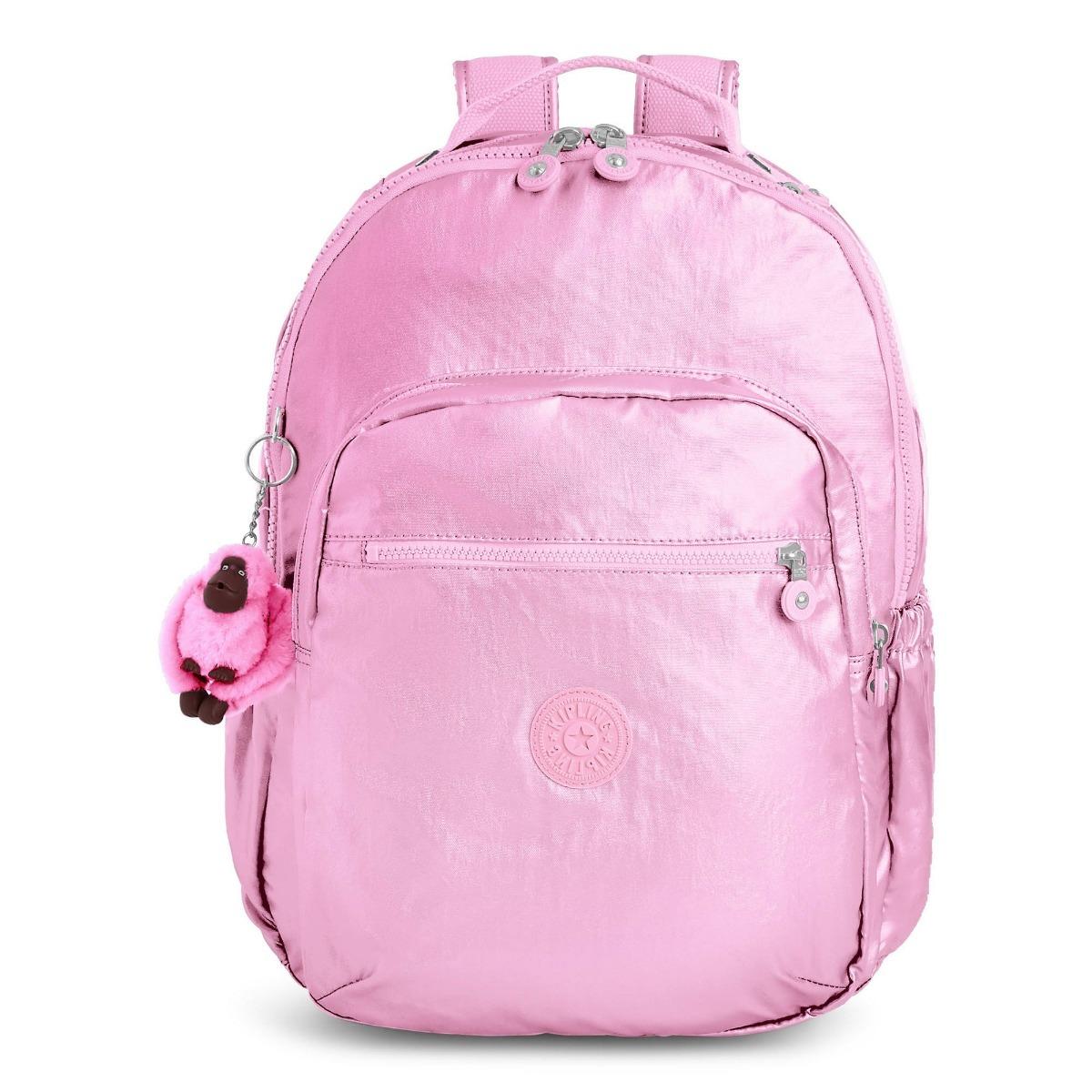 fc5ffc6e0 mochila backpack seoul go large grande rosa metálico kipling. Cargando zoom.