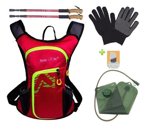 mochila + bolsa agua 2lts agua + bastones + bandana + guante
