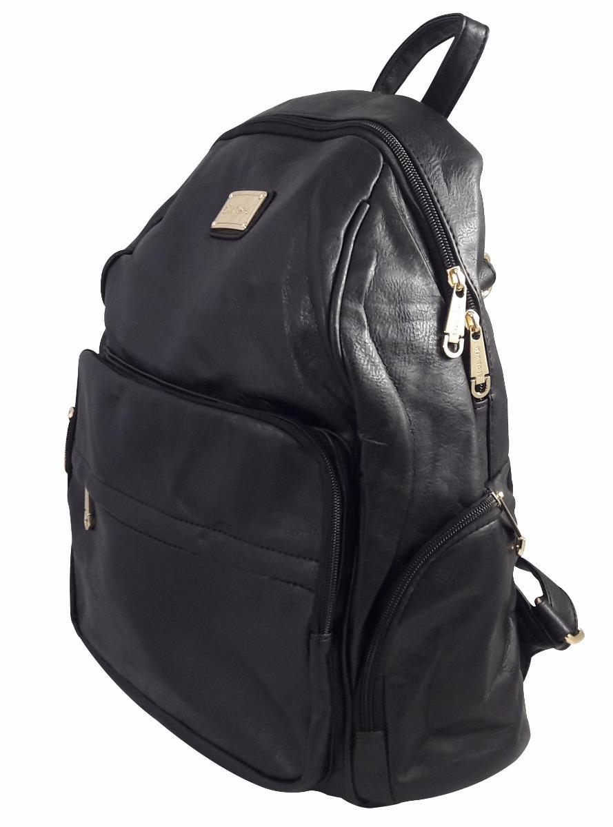 42e400a5b mochila bolsa couro feminina escolar faculdade fashion preta. Carregando  zoom.