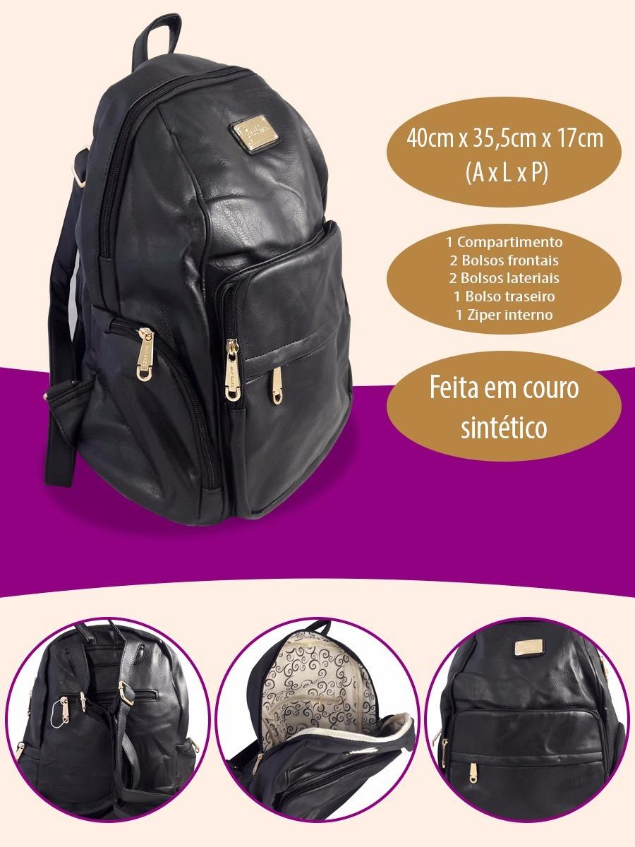 9486cf321 Carregando zoom... bolsa escolar mochila. Carregando zoom... mochila bolsa  couro feminina escolar faculdade fashion preta