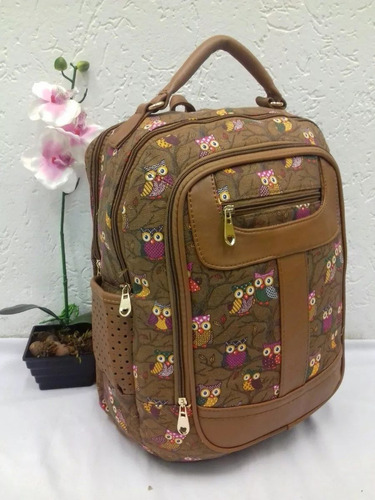 Bolsa De Lona E Couro Feminina : Mochila bolsa estampada lona borda de couro feminina r