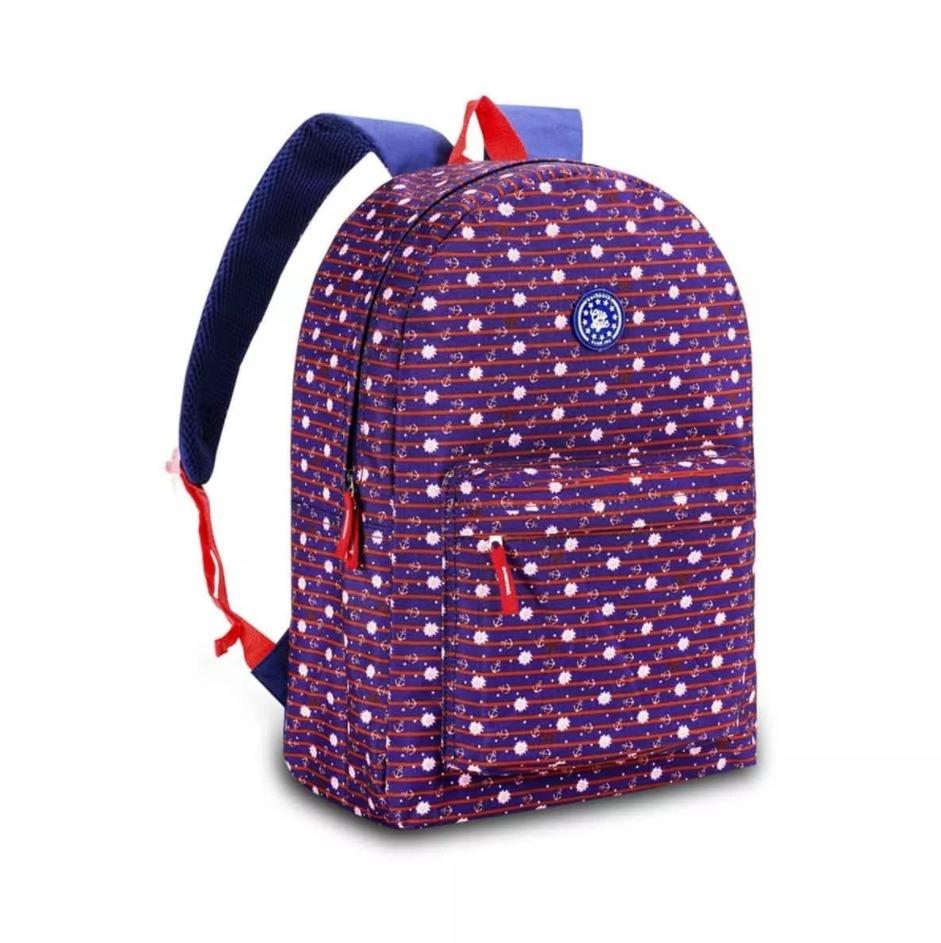 8d76a8cc52 mochila bolsa feminina escolar azul roxa rosa navy floral. Carregando zoom.