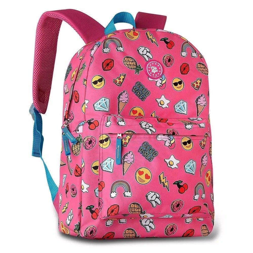 bdb49df7e0 mochila bolsa feminina escolar unicórnio emojis clio rosa. Carregando zoom.