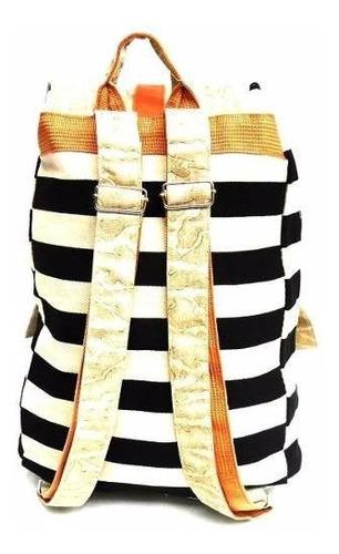 mochila bolsa feminina listrada detalhe em couro sintético